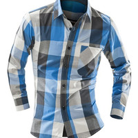 One Pocket Patch Color Block Plaid Long Sleeves Shirt