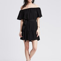 Banana Republic Womens Ruffle Off The Shoulder Dress