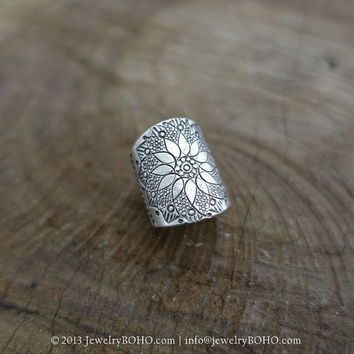 BOHO 925 Silver Ring-Gypsy Hippie Ring,Bohemian style,Statement Ring R093 JewelryBOHO,Handmade sterling silver BOHO Tribal printed ring