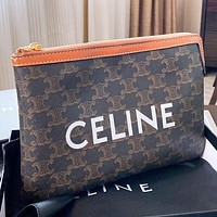 CELINE New Fashion Letter Pattern Print File Package Handbag Cosmetic Bag