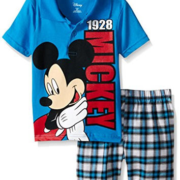 Disney Baby Mickey Mouse Plaid 2-Piece Short Set With Polo Top, Blue, 12 Months