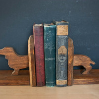 Vintage Long Dachshund Bookends Solid Wood