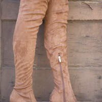 Anesha Thigh High Suede Boot - Taupe