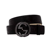 GUCCI Retro Simple Double G Smooth Buckle Belt