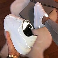Alexander McQueen Fashion Women Leather Luminous Sport Running Sneaker Shoes