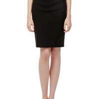 LE3NO Womens High Waisted Pencil Midi Skirt with Stretch
