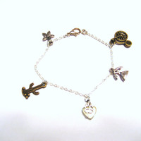 Charm Bracelet , Retro Bicycle   telephone heart and clover saguaro cactus
