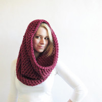 Oxblood Hood - Crochet Cowl Scarf- Womens Oversized Scarf - Red Hood- Wine Circle Scarf - The McIntire Scarf