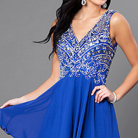 Short V-Neck Homecoming Dress with Jeweled Bodice