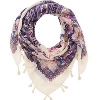 Ivory Combo Floral & Paisley Print Tassel Scarf by Charlotte Russe
