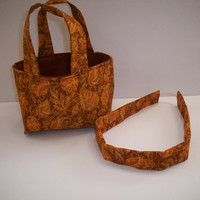 Golden Autumn Teeny Tote with Matching Headband