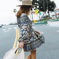Floral Print Dress Amethyst Playdress V-Neck Long Sleeve Mini Dress Women Clothing Casual Beach Dresses