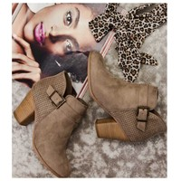 SPECIAL! Cozy Cute Buckle Detail Cement Bootie Boots