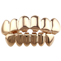 2 Pcs/set! Real Shiny Gold /black/rose Gold /silver Color Hip Hop Teeth Grillz Top & Bootom Set With  Vampire Teeth