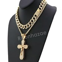 Hip Hop Quavo Bold Cross Miami Cuban Choker Tennis Chain Necklace L35