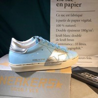 Golden Goose Ggdb Hi Star Sneakers In  Sky Blue Leather And Silver Leaf Strap - Best Online Sale