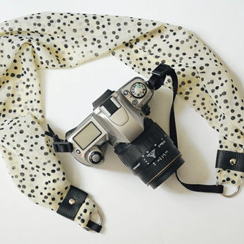 Scarf Camera Strap - Cream with Black Polka Dots - dSLR Camera Strap