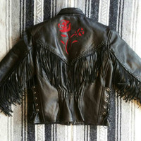 """Vintage 80s 90s Black """"Leather Club"""" Fringe + Red Rose Detail Lace Up Side Zip Out Thinsulate Lining Motorcycle Jacket fits S-M (bust 42"""")"""