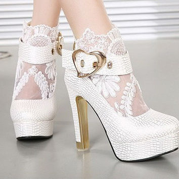Lovely lace Flowers Thick With High-Heeled Boots 6846PQ
