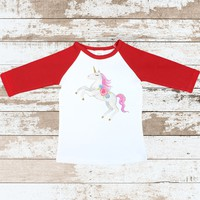 Unicorn Red Raglan Shirt