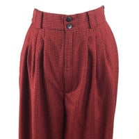 Vintage Red and Black Buffalo Plaid Pants with Pleated Front, Pockets, Wide Belt Loops, Roomy Hips and Thighs, Tapered Ankle - Lines Squares