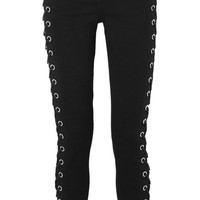 Versus Versace - Lace-up mid-rise skinny jeans