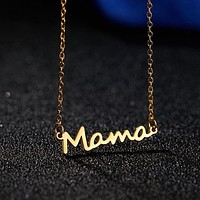 Mother's Day Mama Letter Pendant Necklace For Women 3 Colors Mom Nameplate Clavicle Chain Choker Personality Jewelry Gift