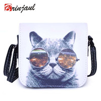 Bolsa Bolsos Carteras Mujer Marca Women PU Leather Cat Wearing Big Glasses Print Shoulder Handbags 2016 Bag CX001