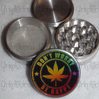 Colorful Don't Worry Be Happy Weed Leaf 4 Piece CNC Aluminum Pollen Herb Grinder Grinders