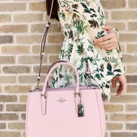 Coach F44958 Leather Surrey Carryall Satchel Carnation Pink