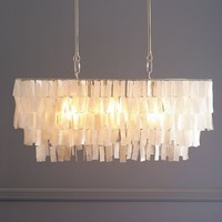 Large Rectangle Hanging Capiz Pendant - White