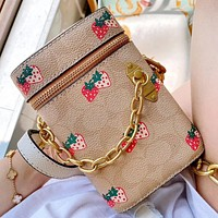 Hipgirls  COACH New fashion strawberry pattern print leather chain shoulder bag crossbody bag