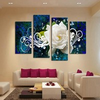 No Frame 4 panel Bright-Colored Flower Large HD Picture Modern Home Wall Decor Canvas Print Painting For House Decorate