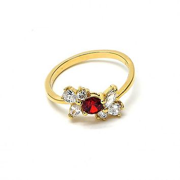 Gold Layered Multi Stone Ring, Bow Design, with Cubic Zirconia, Golden Tone
