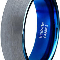 8mm Tungsten Carbide Blue Plated Inner Polished Ring Wedding Engagement Promise Band