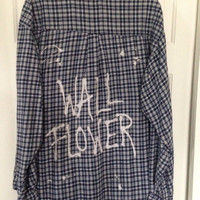 """Soft flannel plaid shirt hand bleached with """"Wall Flower"""" .....soft grunge, hipster"""