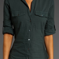 James Perse Green Classic Contrast Panel Button Front Shirt