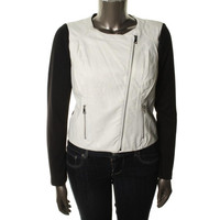 Guess Womens Faux Leather Colorblock Jacket
