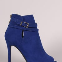 Qupid Suede Strappy Buckled Peep Toe Stiletto Booties