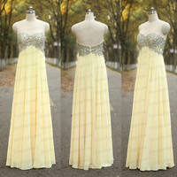 Yellow Sexy Sweetheart Bridesmaid Dress Handmade Yellow Long Prom Gowns Beading Chiffon Yellow Wedding Party Dress