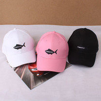 SIMPLE - Summer Gift Retro Embroidery Baseball Cap Unique Big Fish Casual Hat a12444