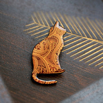Cat brooch with Indian paisley pattern by CitrusCat