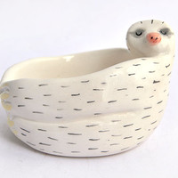 Ceramic Baby Sloth Bowl in White Clay and Decorated with Pigments in Pink and Black Colors