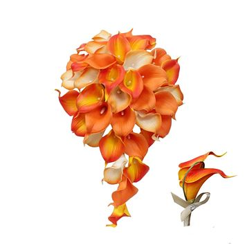 Cascade Bouquet and Boutonniere Set- Shades of Tangerine Orange Real Touch Calla Lilies