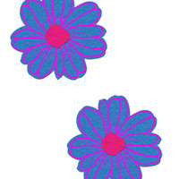 DAISIES: TURQUOISE AND PINK WITH PINK FLOWER NIPPLE PASTIES