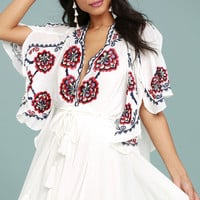 Free People Cora White Embroidered Dress