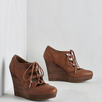 Statement Stacked in Your Favor Wedge in Chestnut by Restricted from ModCloth