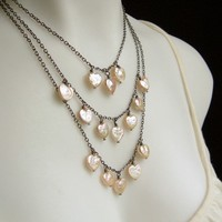 Freshwater Pearl Heart Layered Necklace Much Love by Flowerleaf