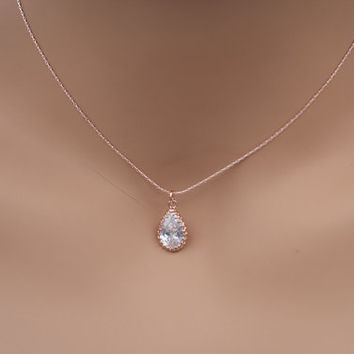 Rose gold diamond pendant necklace rose gold teardrop necklace rose gold crystal pendant necklace rose gold cubic zirconia blush jewelry