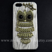 iphone 5 case, PU Leather iphone 5 case, lovely owl case for iphone 5, white wood Hard Case, iphone 5 hard case